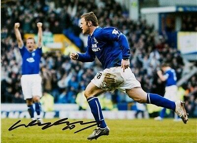 "WAYNE ROONEY SIGNED EVERTON 16""x12"" FOOTBALL PHOTOGRAPH SEE COA & PROOF"