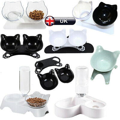 Dog Cat Double Bowl Feeding Station Pet Food Dish Water Dispenser W/Raised Stand