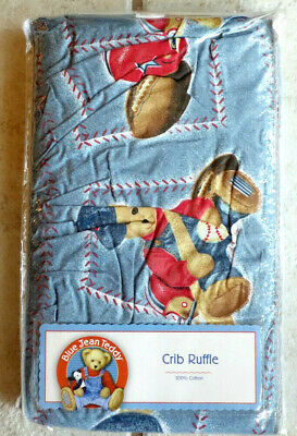 Blue Jean Teddy Crib Ruffle New Without Tags
