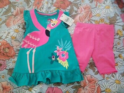 Age 2-3 Girls flamingo Summer Outfit From Tu Nwt