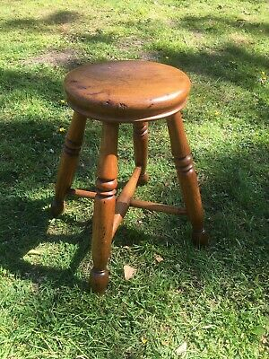 Vintage Oak Round Turned Four Legged Stool