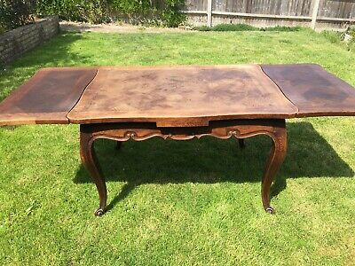 Antique Louis XV Style French Carved Oak Extending Dining Table