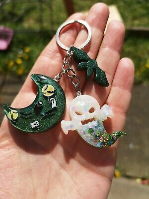 Keyring ghost bat moon witch green white and black gothic Halloween spooky cute