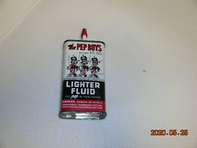 PEP BOYS 4 oz LIGHTER FLUID CAN GREAT MANNY MOE JACK GRAPHICS NICE CAN