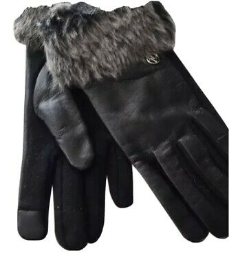 Ladies Adrienne vittadini Leather Gloves Size Large with faux fur New With Tags