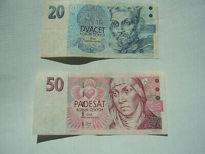 Set of 2 Czech Republic banknotes from the 1990s , Circulated Currency