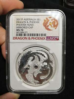 2017 Perth Mint Phoenix & Dragon 1oz Silver Bullion Error Mirrored Gap NGC MS70