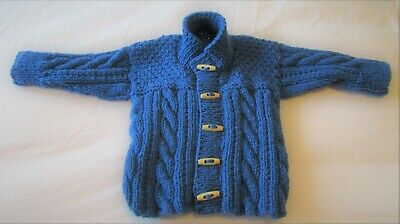 Hand knitted Aran Cable patterned Cardigan/Jacket in Blue 3/6 mths baby boy