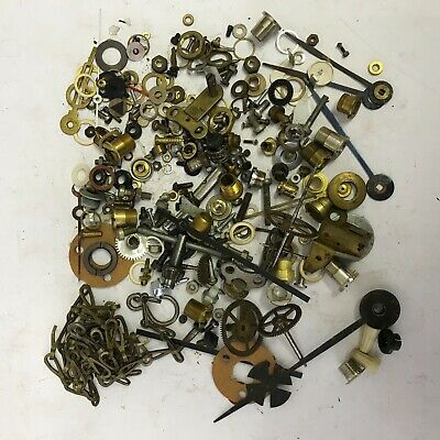 A huge lot of clockmakers' parts. Collets, grub screws, nuts, washers, ALL USED.