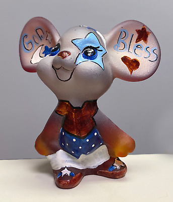 Fenton Art Glass OOAK Patriotic Painted Ruby Satin Mouse Figurine by Kim Barley