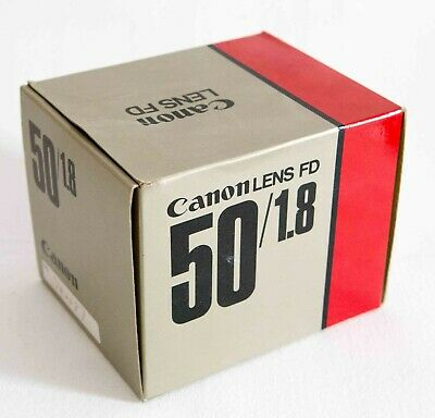 Canon FD 50mm 1.8 lens box with styrene packing