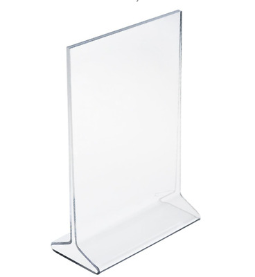25 Piece Lot of 4 x 6 Acrylic Sign Holder Tabletop Top Insert T-Style Clear