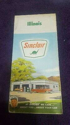 1963 Service Station Road Map ILLINOIS SINCLAIR OIL GASOLINE gas oil advertising