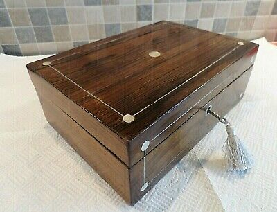 VICTORIAN 19thC INLAID ROSEWOOD BOX WITH RELINED INTERIOR - LOCK & KEY