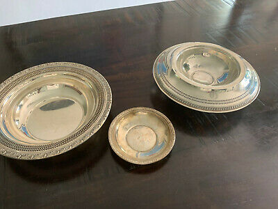 LOT of 3 STERLING SILVER BOWLS - 18.77 ounces total - great shape