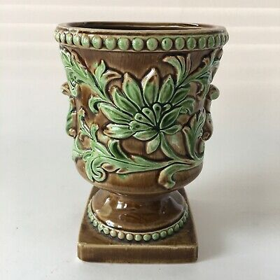 Vintage Inarco Planter Majolica Footed Brown & Green Japan