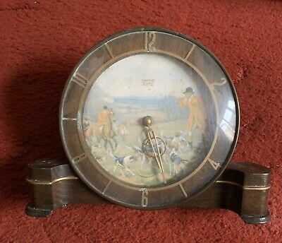 Smiths 8 Day Mantle Clock Fox Hunting Scene Dial