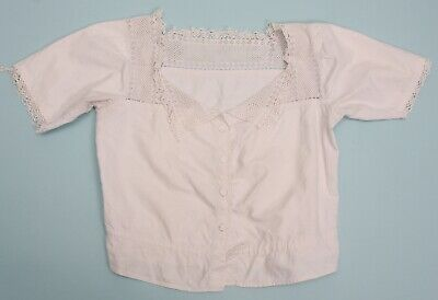 Antique Edwardian white cotton cami top Camisole with crochet collar (199)