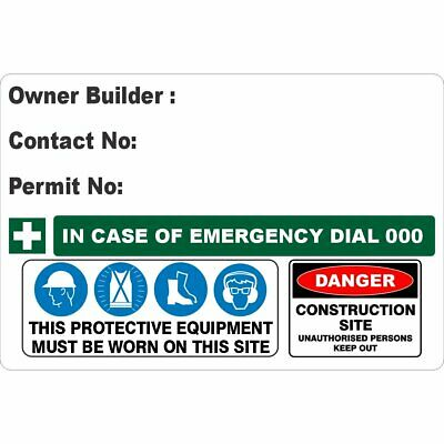 Construction Site Signs -  OWNER BUILDER SIGN DETAILED V2
