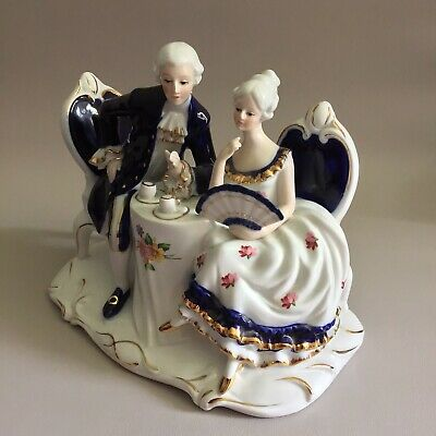 LG Musical Porcelain Figurine 'Couple Taking Tea'- 'Brahms Lullaby' Boxed EUC