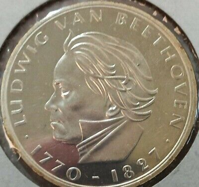 1970 F Germany 5 marks silver proof coin, Beethoven