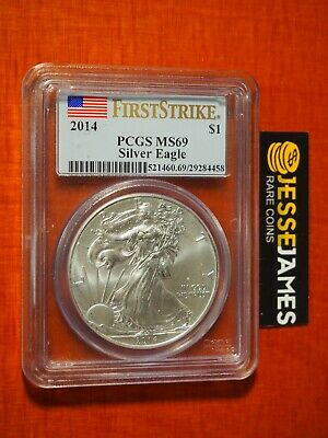2014 $1 American Silver Eagle Pcgs Ms69 Flag First Strike Label