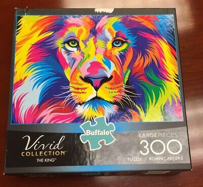 """Buffalo 300 Piece Jigsaw Puzzle """"THE KING"""" - Lion Of The Jungle VIVID **COMPLETE"""