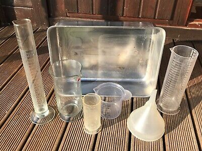 5 x Photographic Darkroom Measuring Cylinders Paterson Exelo & Stainless Tray