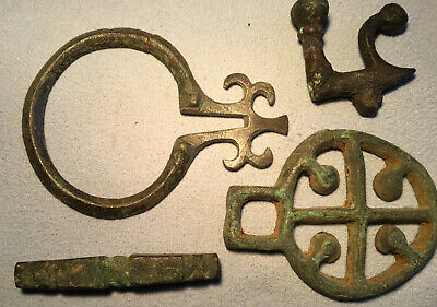 Ancient CELTIC 4 BRONZE BUCKLES, TIE LOCK, Bar ETC