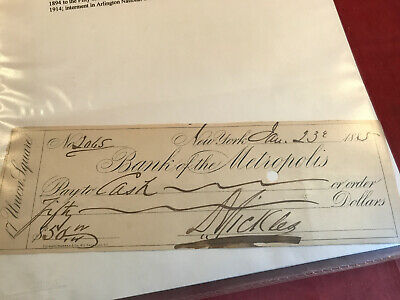 Union General Daniel Sickles Autograph,signed Check And Book Civil War