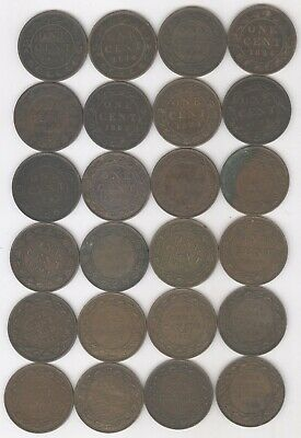 Lot of 24 - Canadian Large One Cents + 1859 - 1920 + Circulated + No Reserve!