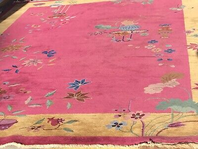 An Authentic Hand Made Antique Art Deco Design Chinese Rug