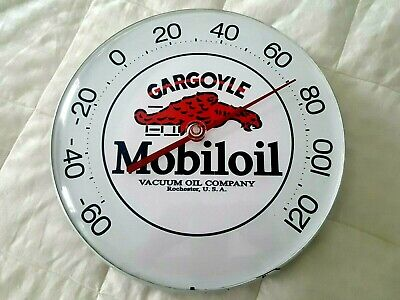 Gargoyle Mobil Oil Advertising thermometer gas service Station Racing Gas