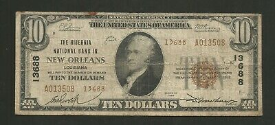 1929 Type 2 $10 The Hibernia National Bank of New Orleans Louisiana CH 13688