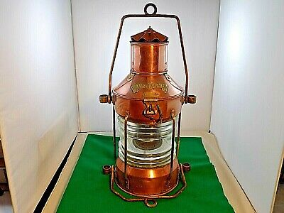 """ANKERLICHT COPPER LARGE NAUTICAL MARITIME LIGHT WITH FRESNELL LENSES - 19"""" Tall"""