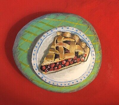 Hand Painted River Rock Art - Cherry Pie