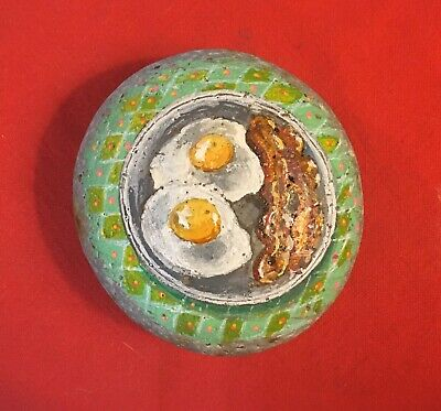 Hand Painted River Rock Art - Bacon And Eggs - Breakfast