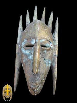 Senufo people, Cote D'Ivoire, Wooden and Copper Tribal Art mask, 19th century