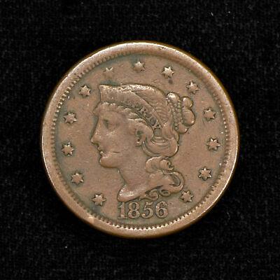 1856 1c BRAIDED HAIR LARGE CENT, FINE+ COIN LOT#Y512