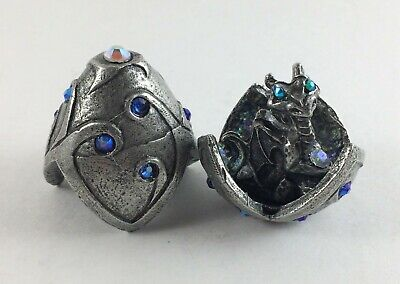 Pewter Baby Dragon In Egg with Crystal Accents