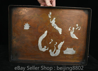 """14"""" Marked Old China Copper Dynasty Palace Female Celestial landscape Plate"""