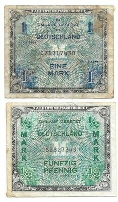 Germany Papermoney, 1944 Allied Currency P-191a, P-192, Circulated Banknotes