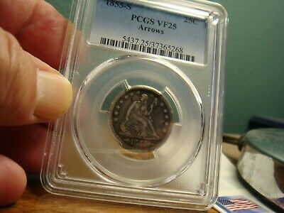 1855-S Arrows Liberty Seated Quarter _ PCGS VF-25 _ No Problems Here !!!