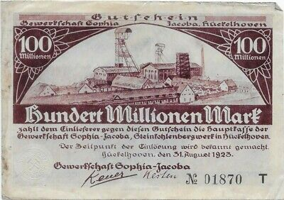 Germany Inflation Papermoney, 100 Million, 1923, Huckelhoven, Circulated