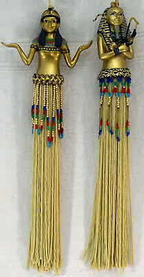 Egyptian Figurine Pair Man & Woman Hanging Decorations with Tassels & Beads