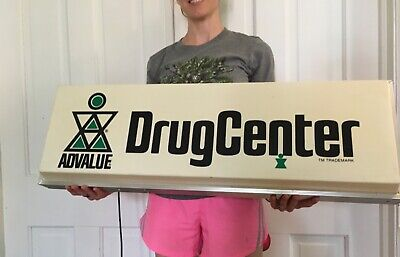Vintage Advalue Drugs - Store Pharmacy Light Up Sign Gas Oil Feed Seed Soda Pop