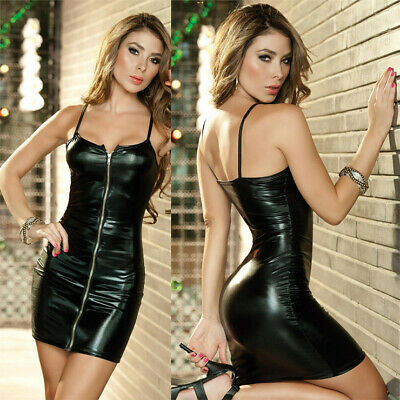 Black Deep Vneck Leather Zipper Closure Hip-up Night-club Backless Sexy Lingerie