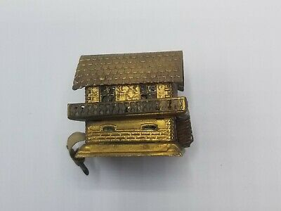 Antique Gilt Metal Millhouse Sewing Tape Measure