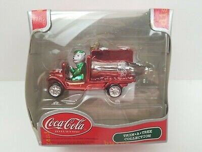 Coca Cola Trim Tree Christmas Ornament Truck Hauling a Bottle Chrome Plated
