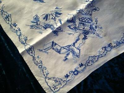 Stunning Blue Willow  Skilfully Hand Embroidered Tablecloth
